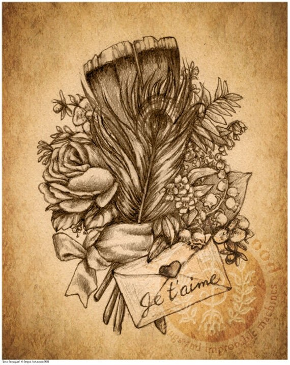 Steampunk Flower Drawings Victorian steampunk roseVictorian Flower Drawings