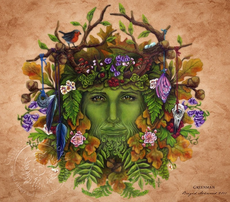 Celtic Greenman Armband: Items Similar To Celtic Greenman Pagan Art Print On Etsy