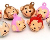 B054a- 5pcs Monkey Metal Bell Charms (Mixed Color)