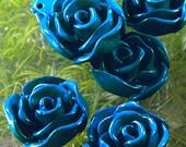 C167- 4pcs Jumbo Turquoise Rose Plastic Bead