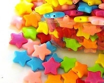 C097- 60pcs Little Star Plastic Beads (Candy Color Mixed)