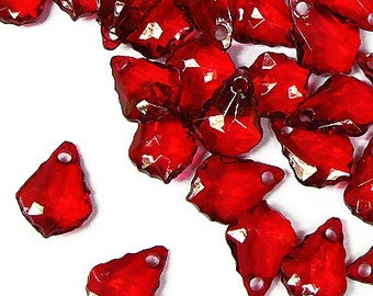 C114- 50pcs Red Faceted Tear Drop Plastic Beads