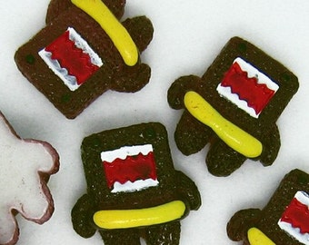 B887- 5pcs Chocolate Monster with Life Saver Plastic Cabochons