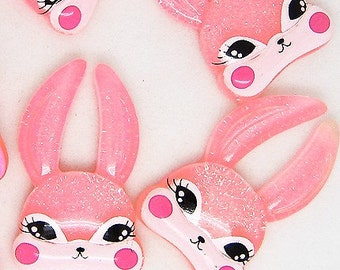 B881- 4pcs Miss Pink Bunny Plastic Cabochons
