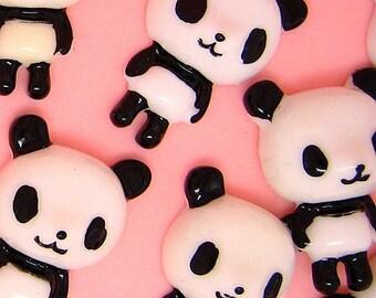B895- 4pcs Panda Plastic Cabochons