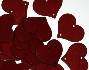 B221- 4pcs Imitation Wood Cracked Heart Charms, Matte Red Brown