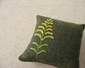 Goldenrod Hand Embroidered Pincushion