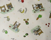 Japanese Fabric-- animals making fruit & vegetable smoothies, fat quarter