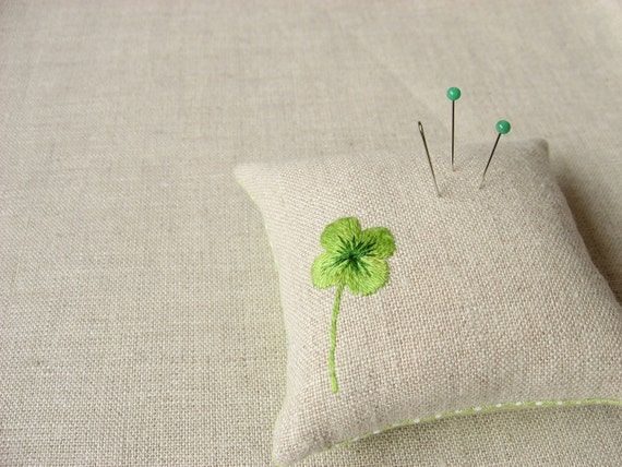 Four-Leaf Clover Hand Embroidered Pincushion