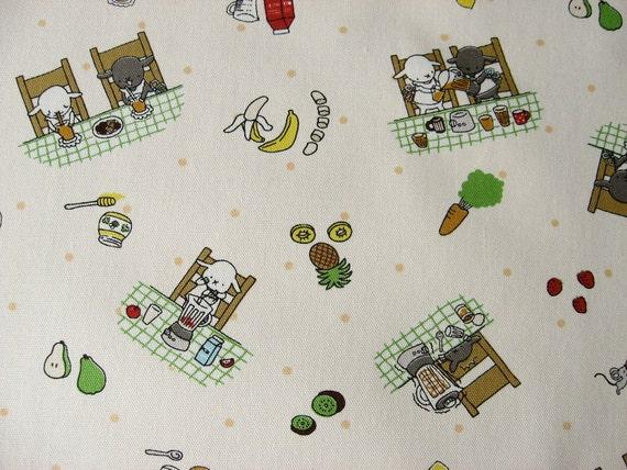 Japanese Fabric-- animals making fruit & vegetable smoothies, fat quarter