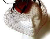 Destash Clearance Sale Burgundy and Black Russian Veiling Cocktail Fascinator Hat