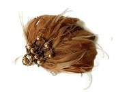 Destash Clearance Sale Feather Fascinator Two Tone Cafe au Lait and Carmel Hair Clip