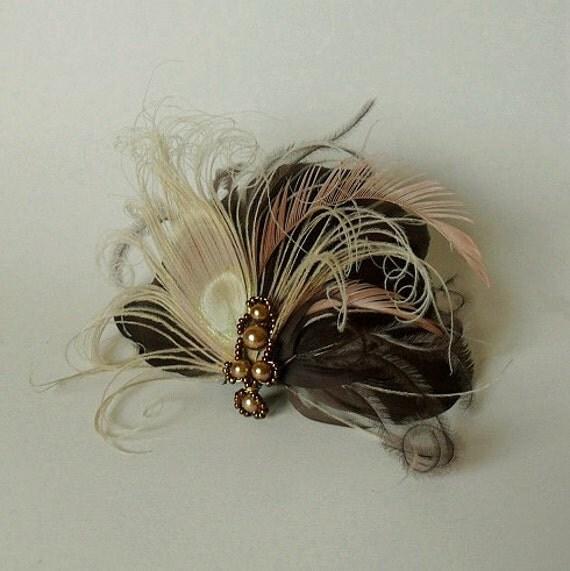 Coffe Brown Peacock Feather Fascinator Hair Clip