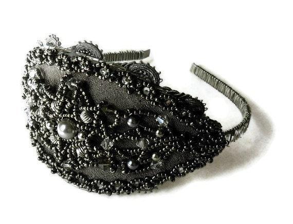 Destash Clearance Sale Beaded Headband Silver and Gray