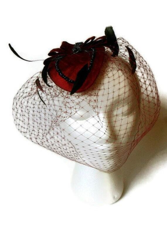 Destash Clearance Sale Burgundy and Black Russian Veiling Cocktail Fascinator Hat