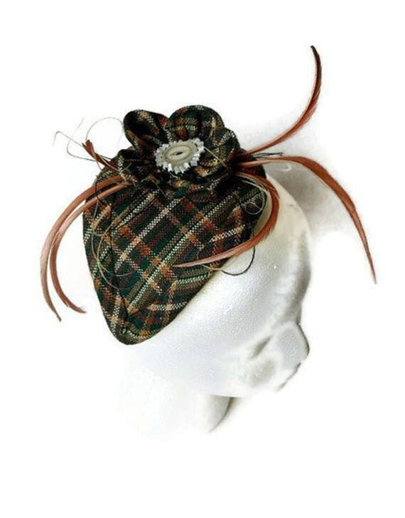 Destash Clearance Sale Teardrop Feather Plaid Cocktail Fascinator Hat