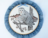 Owls Mother and children wall hanging embroidery hoop