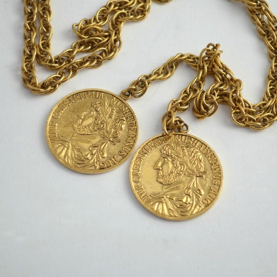 Metal chain belt gold color with simulated coins