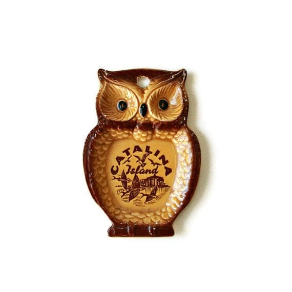 Owl spoon rest Catalina Island USA wall hanging