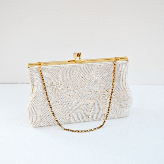 Purse clutch beaded white vintage Walbaeg fancy evening
