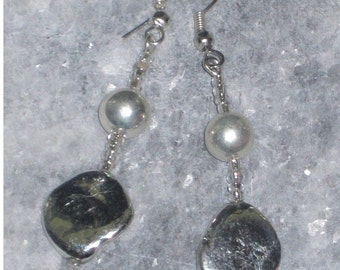Silver Bedazzled Earrings - Silver Shell Beads, SS Plated Round Beads & Silver Seed Beads Suspended From Silver French Hook Wires - Sale
