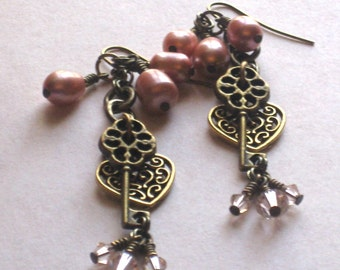 Key To My Heart Earrings - Antique Brass Keys and Filigree Hearts With Wire Wrapped Rose Pearls and Swarovski Crystals
