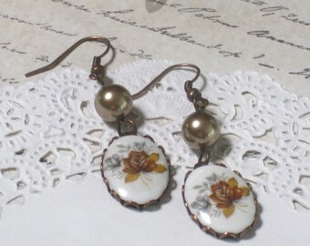 Amber Rose Vintage Cameo And Swarovski Pearl Earrings