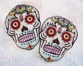 Pair of Sugar Skull Barrettes Pink