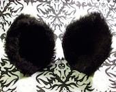 Black Fuzzy Cat Ear Clips
