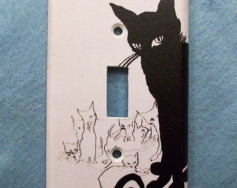Retro Black Cat Light Switch Cover - Single or Double Switchplate - Switch Plate