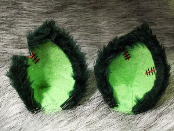 Zombie Cat Ear Clips Frankenstein