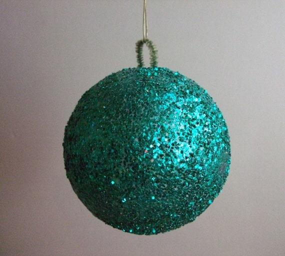 Glitter ball ornament teal christmas decoration by jessamyjay