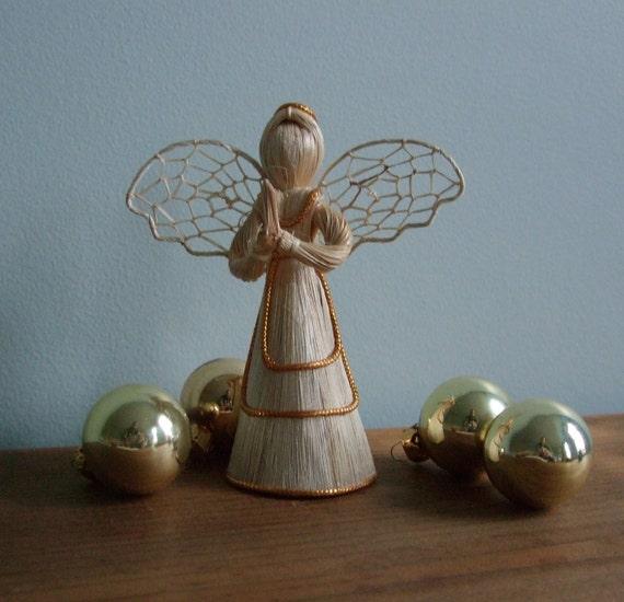 Vintage Corn Husk Straw Angel Gold Christmas Decoration