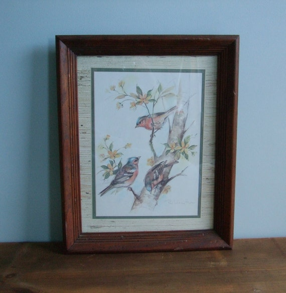 Vintage Bird Print, Paul Whitney Hunter Signed, Framed Sparrows on Tree Branches