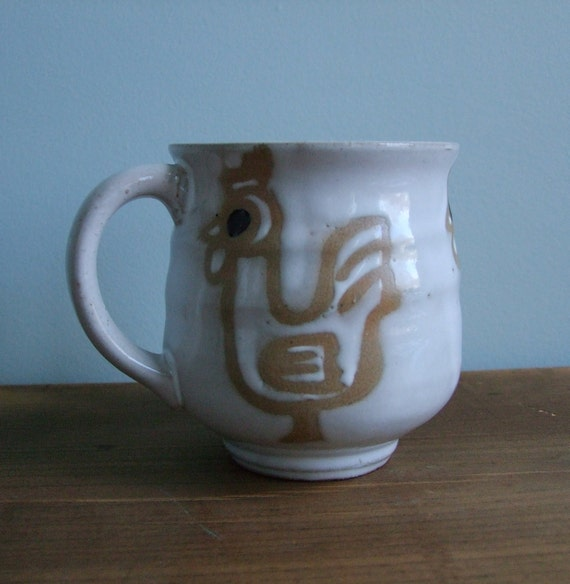 Rooster Pottery Mug, Vintage Chicken Cup, White with Handle