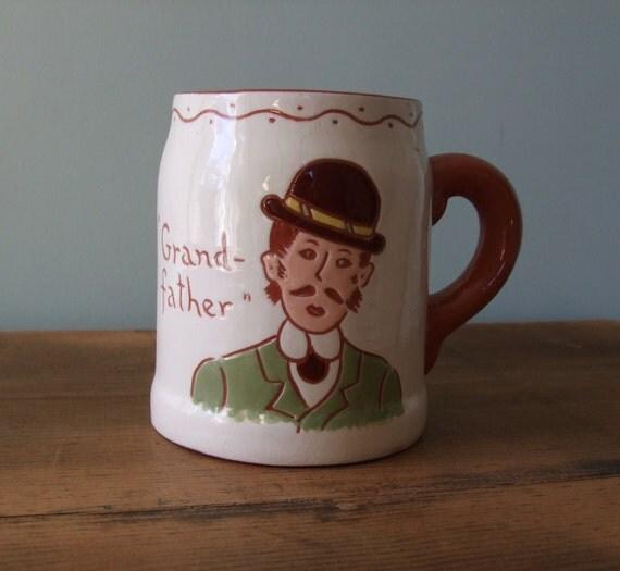 Grandfather Mug, Ceramic Stein, Rueye 'My Cup is Full of Joy'