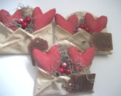 3 Primitive Red Love Letter Bowl Fillers