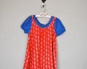 Vintage Children's Dress / 1950s 1960s Little Girls Dress / Red White Blue Print Dress  / Vintage Kids Dress
