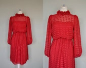 Red Ruffle Dress / Vintage Red Dress / Geometric Vintage Red Dress / Bright Red Dress