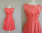 Pretty Pink 1950s Dress / Pink Valentines Dress / Small Coral 1950s Dress