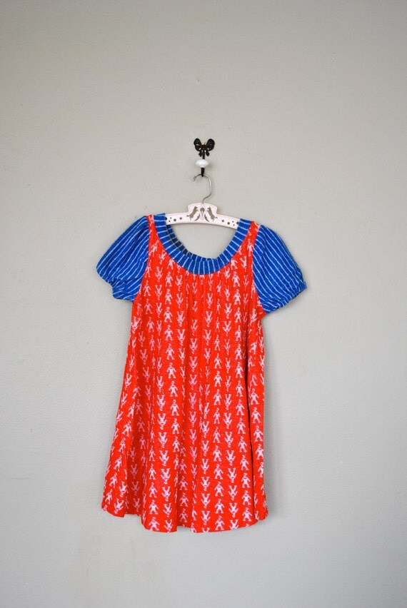 Vintage Children's Dress / 1950s 1960s Little Girls Dress / Red White Blue Print Dress  / Vintage Kids Dress