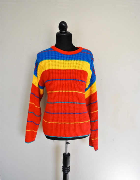 1980s Pullover Sweater / Rainbow Sweater / Big Chunky Sweater / Vintage Bright Sweater / Bright Red Rainbow Primary Colors Womens Sweater