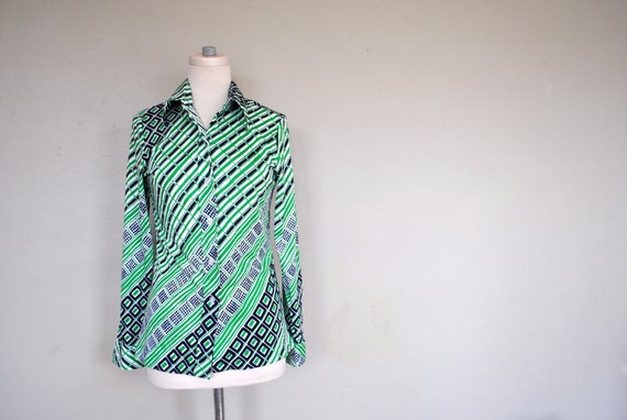 1970s Blouse / Geometric Mod Blouse / Vintage Bright Ladies Blouse / Green and Blue Bright Shirt