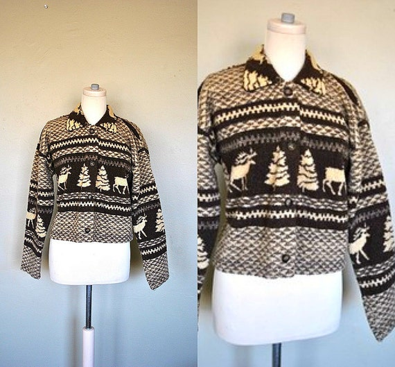 CLEARANCE  SALE  Vintage Fleece Woodland Animal Sweater / Brown and Tan Country Sweater / 1980s