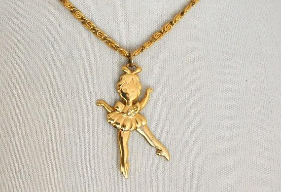 Christmas in July SALE   SALE   Ballerina Necklace / Golden Dancer Necklace / Vintage Avon Necklace / Moving Legs Dancing Ballerina