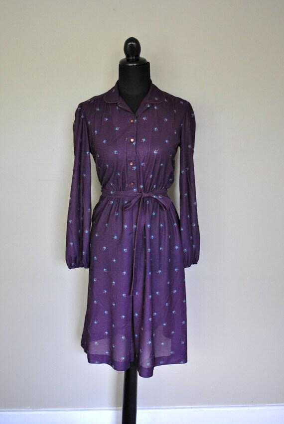 Coachella 1970s Dress /  Purple Dress / Purple and Blue Floral Pretty Summer Girl Sheer Dress / Floral Dress