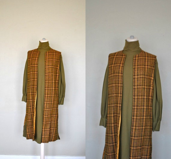 SALE   1960s Dress and Vest / Green Dress with Brown Plaid Vest Combo / 1960s/70s  Long Dress and Vest
