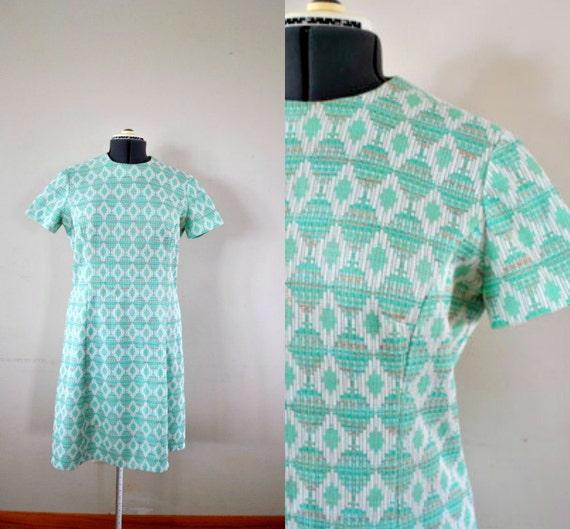 1960s Dress / Green Dress / Vintage Green Dress / 1960s Green Geometric Design Day Dress