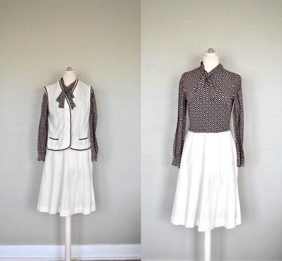 1970s Dress and Vest Set / Brown Bowtie Secretary Dress / Small/Medium Brown Vintage Dress / 1970s Turtleneck Dress