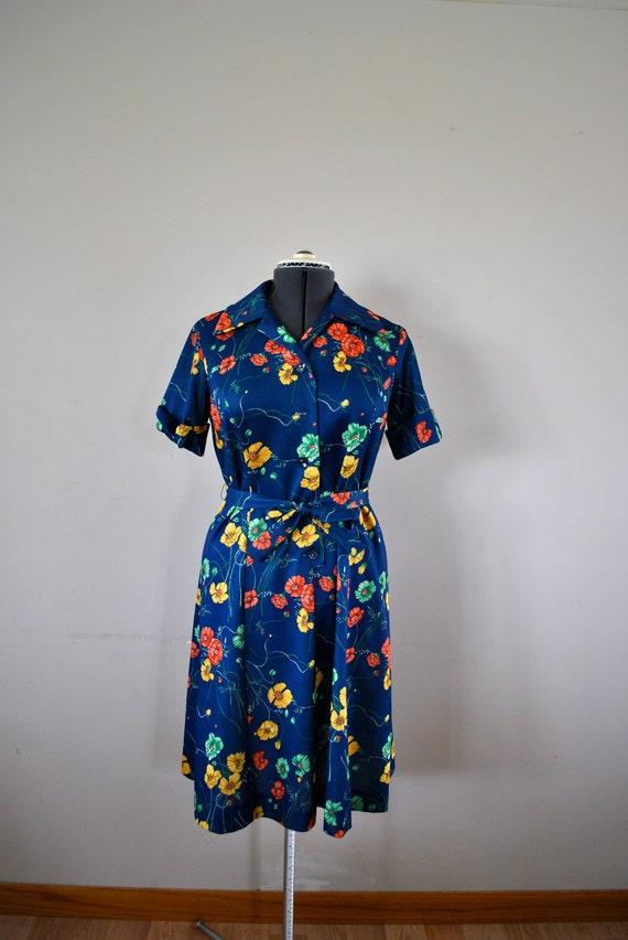 Bohemian Style 1970s Dress / Blue Floral Dress / Blue Bohemian Dress / Vintage Sundress /  Hippie Boho Blue Floral Dress
